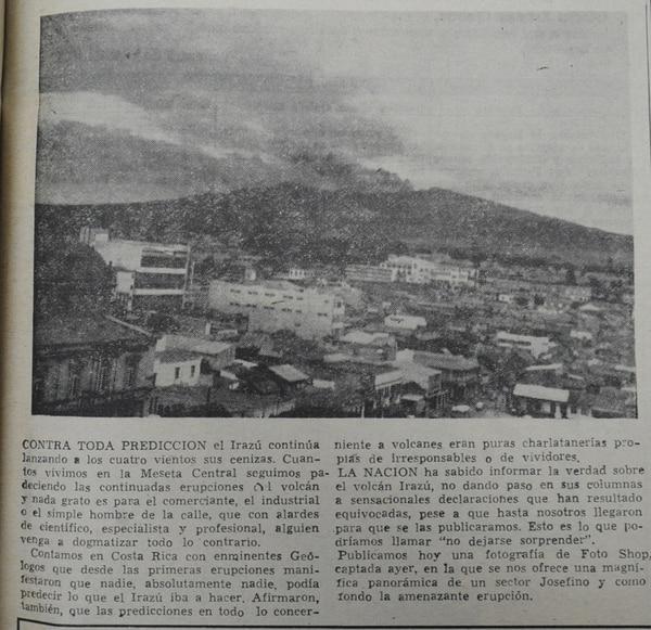 Foto panorámica de 1963 con el Irazú al fondo. | DOCUMENTACIÓN LN