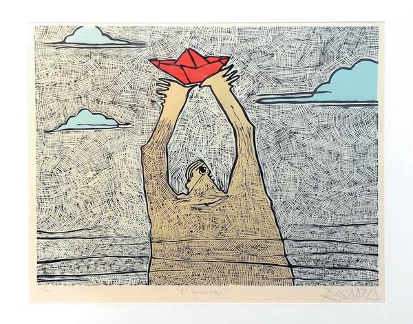 El barco rojo (1988), de Rolando Garita, una cromoxilografía parte de la colección del MAC.