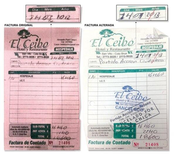 A la izquierda, una factura original que un hotel y restaurante de San Vito de Coto Brus le cobró al PAC. Tiene fecha del 2012. A la derecha, la factura como se la presentó el partido al TSE. | REPRODUCCIÓN
