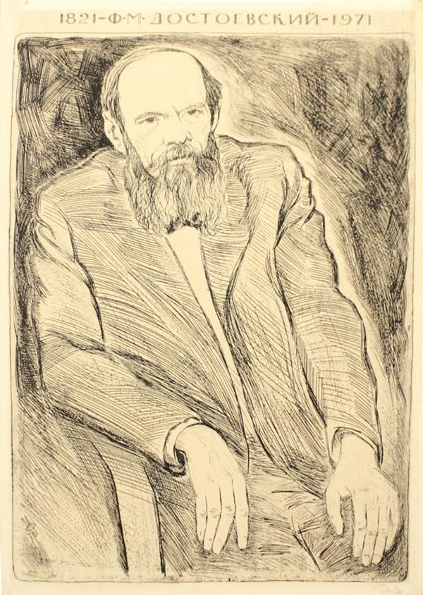 3. Retrato de Fiódor M. Dostoyevski . Aguafuerte de Mijaíl Izraélevich Feygin.