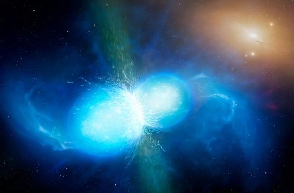 Esta ilustración muestra cómo fue el choque de dos estrellas neutrones que fue detectado en los telescopios terrestres en agosto pasado.