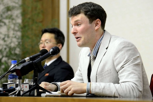 El estudiante Otto Frederick Warmbier compareció, en marzo del 2016, ante la Corte Suprema de Justicia de Corea del Norte, en Pionyang.
