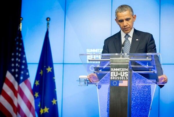 El presidente estadounidense Barack Obama comenzó este miércoles una reunión con los responsables de las instituciones europeas en Bruselas.