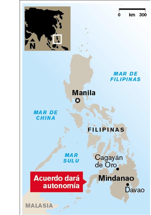 Mapa de ubicación de Filipinas.