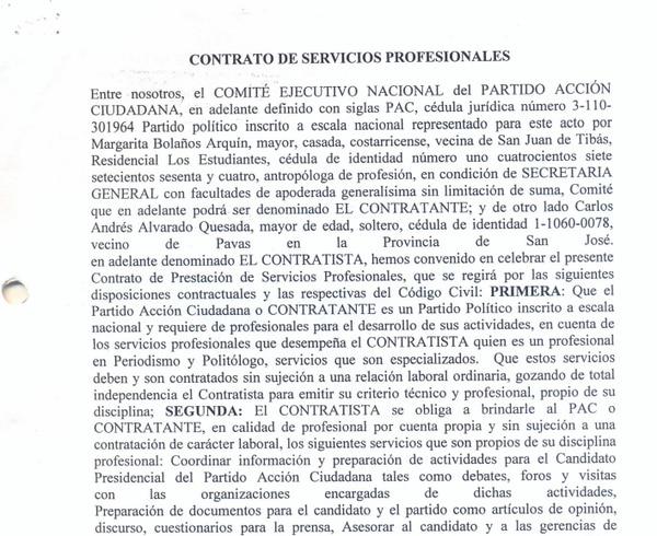 Parte del contrato firmado entre Alvarado y el PAC en el 2009.