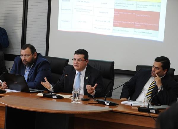 El ministro de la Presidencia, Sergio Alfaro, criticó el plan de empleo público de la oposición en la Comisión legislativa de Asuntos Social. Acudió junto a su viceministro Luis Paulino Mora y el viceministro de Hacienda, José Francisco Pacheco.