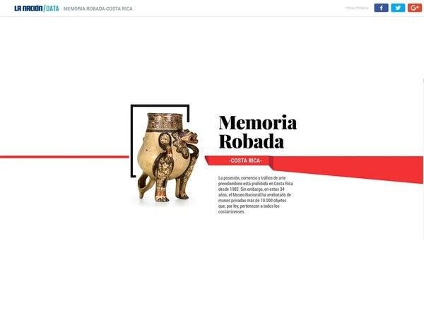 El especial interactivo Memoria Robada fue un trabajo de Hassel Fallas, editora de la Unidad de Inteligencia de Datos de La Nación, y Marco Hernández, diseñador interactivo.