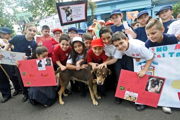 Ocasionalmente, el perro Canelo visita a los alumnos de la Escuela Ramón Barrantes Herrera quienes son sus amigos.   ALONSO TENORIO