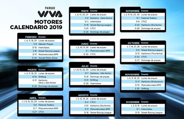 Calendario del Circuito de Competencias de Parque Viva para el 2019.