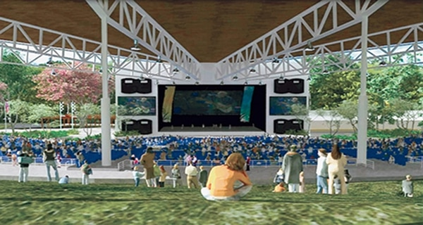 El nuevo anfiteatro albergará espacio para unos 16.000 espectadores en las áreas techadas y no techadas. Fotografía: Cortesía de Bliss Entretenimiento.