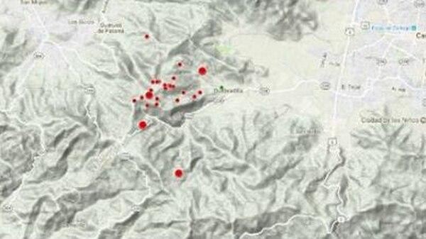 Los puntos rojos reportan las zonas donde han sido reportados los pequeños sismos. Foto: Facebook Ovsicori