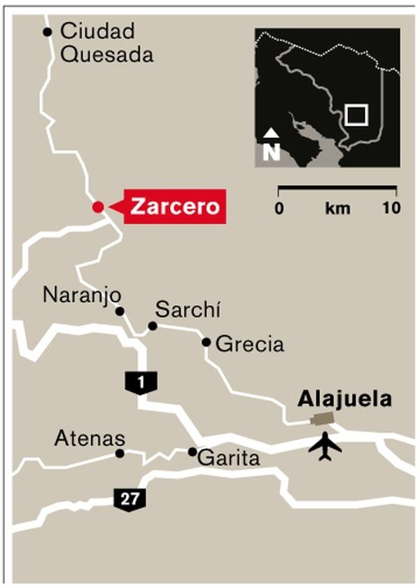 Mapa de ubicación de Zarcero.