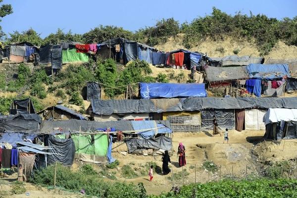 Un asentamiento rohinyá cerca de la zona de