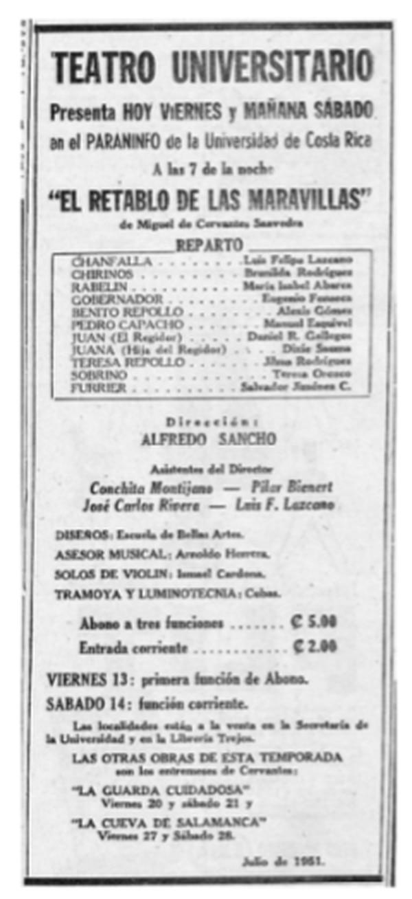 Anuncio del primer montaje del Teatro Universitario, publicado en La República el 13 de julio de 1951.