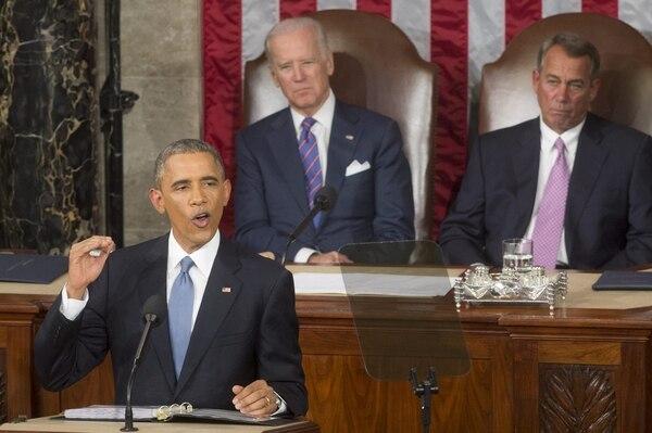 El presidente de Estados Unidos, Barack Obama, ofrece su discurso del Estado de la Unión ante el Congreso en Washington