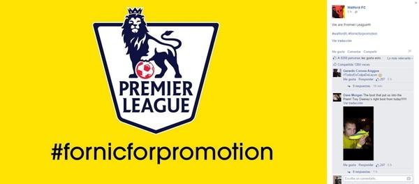Watford celebró en Facebook su clasificación a la máxima categoría inglesa.