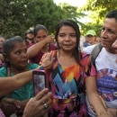 Imelda Cortez (C) is accompanied by relatives after she was acquitted and released, outside the Judicial Center for Sentencing in Usulutan, 90 km from San Salvador, on December 17, 2018. - Imelda Cortez got pregnant after she was raped by her stepfather. She gave birth to her baby in a latrine in 2017 and was rushed to the hospital by her mother, where the doctor suspected she had an abortion. Although the baby was found healthy and alive, she had been in prison ever since, accused of attempted aggravated homicide, in a country where abortion is illegal under all circumstances. (Photo by MARVIN RECINOS / AFP)