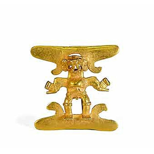 Colgante de oro antropomorfo.Procedente de la región del Diquís, Pacífico Sur. En custodia del Museo Nacional de Costa Rica.
