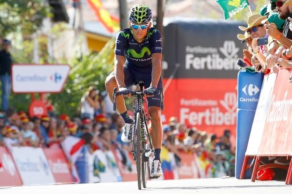 Andrey Amador al llegar a la meta en la etapa 20 de la Vuelta a España.