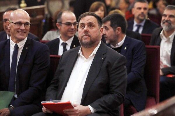 Oriol Junqueras, exvicepresidente de Cataluña, presente en la primera audiencia del juicio a los independentistas, que comenzó este martes 12 de febrero del 2019 en Madrid.