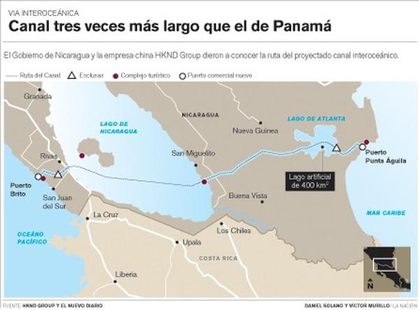 Ruta propuesta para el canal de Nicaragua.