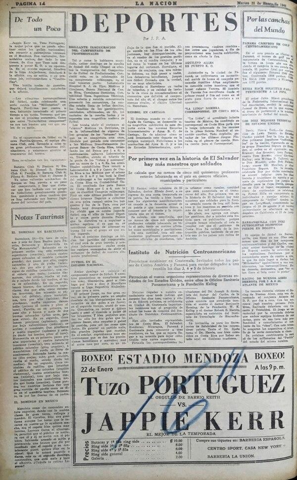 21 de enero 1947. En un párrafo se resumió la derrota del Atlante mexicano, con participación de Fello Meza, ante el Racing argentino.