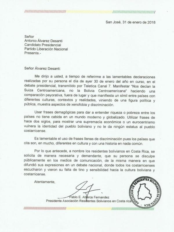 Carta que envió la Asociación Residentes Bolivianos en Costa Rica al PLN, luego de que Antonio Álvarez Desanti dijera que