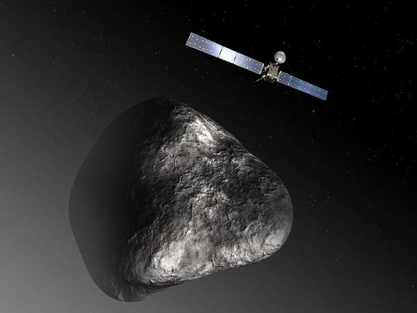 La llegada de Rosetta al cometa 67P/Churyumov-Gerasimenko, tal y como se ve en la ilustración, está programada para agosto del 2014. | C. CARRIEAU/ESA