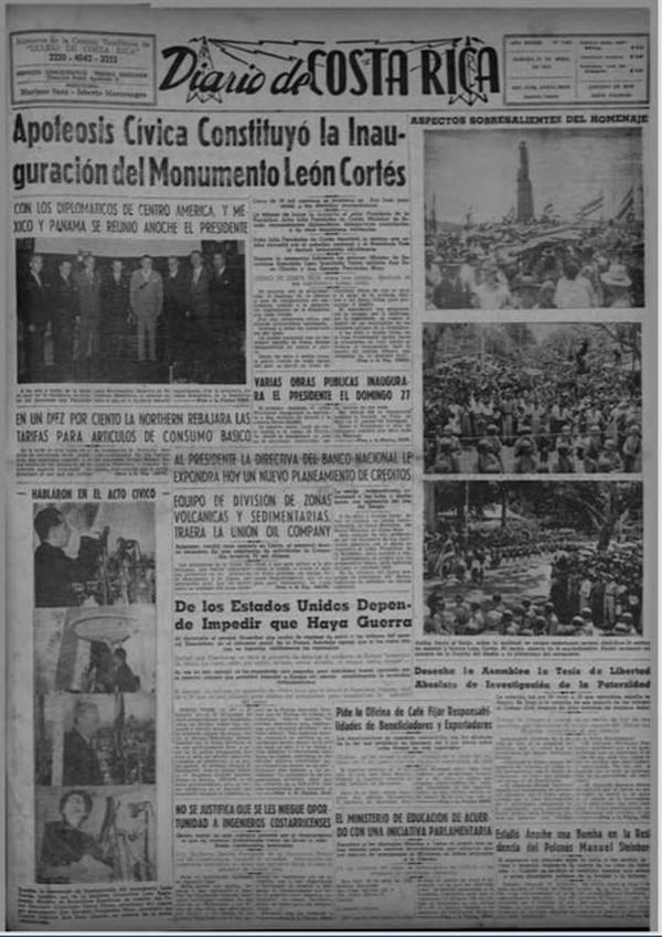 Esta fue la portada del Diario de Costa Rica después del acto de inauguración. Los periódicos mostraron las dimensiones del homenaje y sus crónicas se rinden ante el fallecido caudillo. Imagen: Archivo de la Biblioteca Nacional.