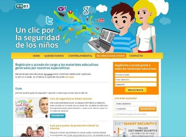 Padres e hijos pueden visitar el portal de ESET para aprender cómo cuidarse mientras navegan en la web.   ESET PARA LN