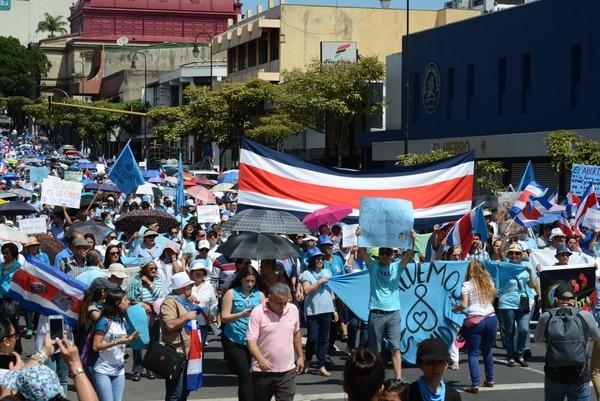 La Gran Marcha Nacional por la Paz y la Solidaridad en Costa Rica saldrá del parque La Merced y de la UCR este sábado, a las 10 a. m. Imagen con fines ilustrativos. Foto: Carlos González.