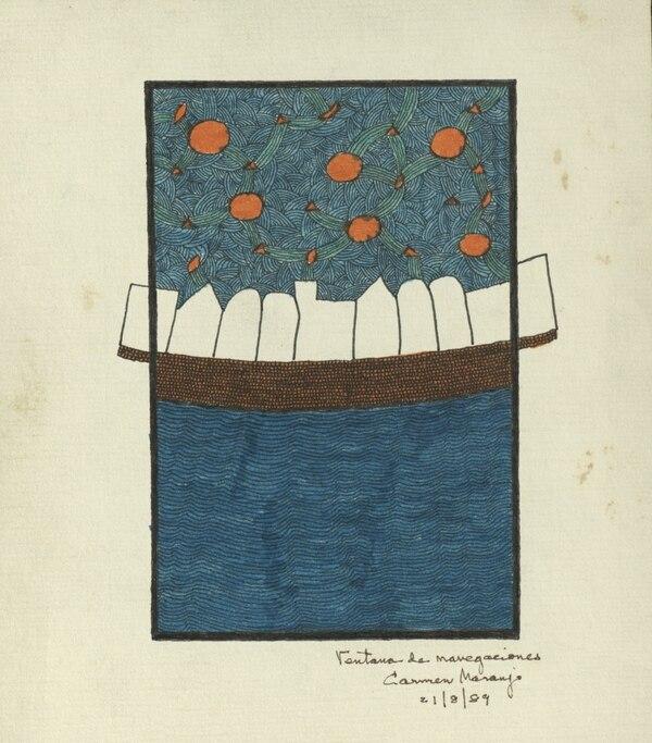 Ventana de navegaciones, pieza hecha por Carmen Naranjo. Foto: Digitalización IIARTE-UCR / Cortesía del Museo Calderón Guardia.