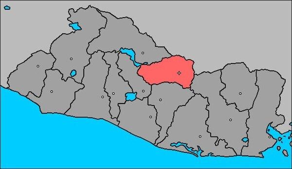 Sensuntepeque (rosado en el mapa) está en el departamento de Cabañas, en el centro del país centroamericano.