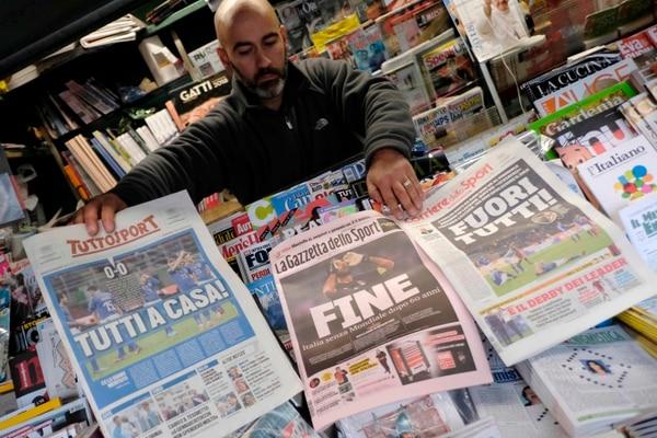 La prensa italiana pidió cabezas y consecuencias para los responsables del fracaso histórico. Foto: AFP