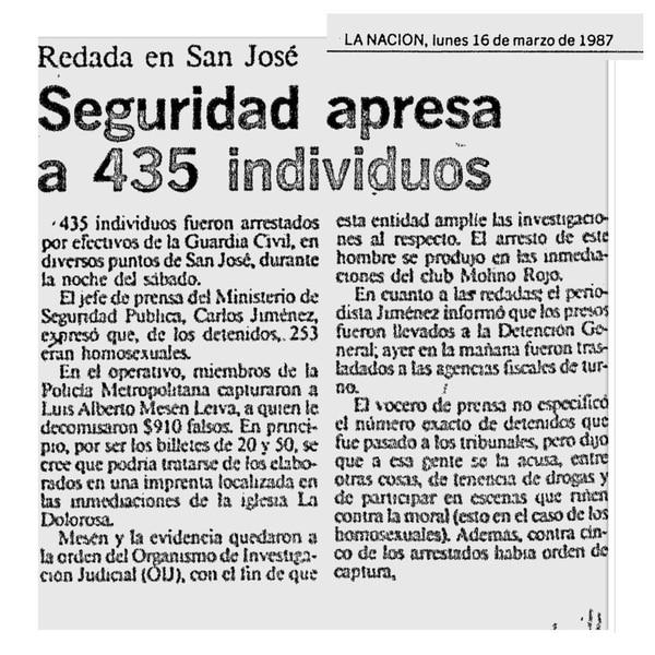 Redadas. Uno de los reportes en La Nación acerca de las redadas en 1987. Aquel sábado 14 de marzo detuvieron a 253 homosexuales.