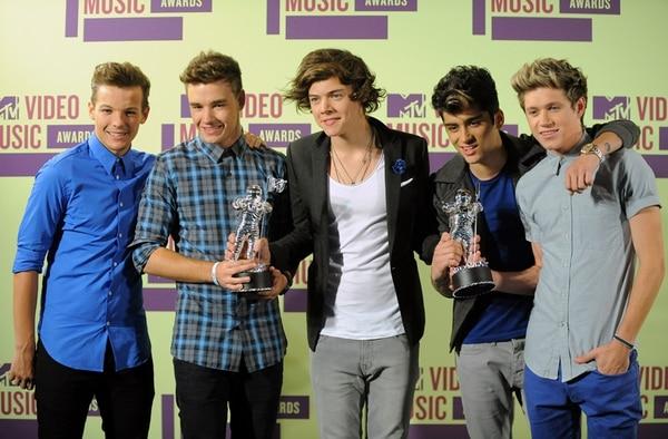 Otros tiempo. One Direction durante la entrega de los premios MTV en Los Ángeles, en 2012. De izquierda a derecha: Louis Tomlinson, Liam Payne, Harry Styles, Zayn Malik and Niall Horan Foto: Jordan Strauss/Invision/AP.
