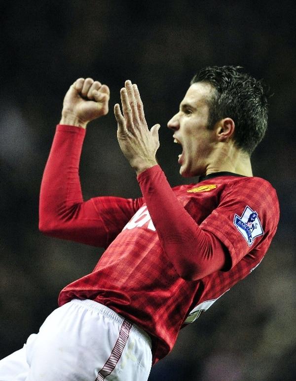 Robin Van Persie celebra el gol de la victoria del M. United. | AFP.