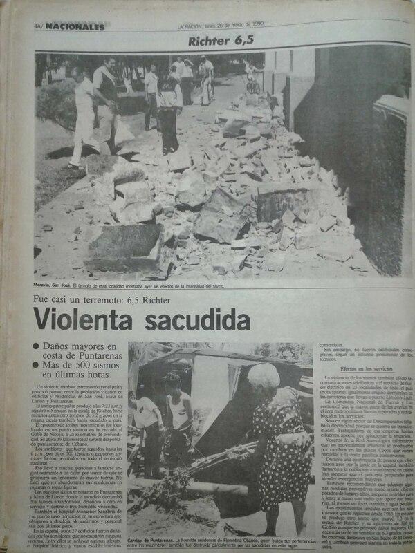 En las siete provincias del país se sintieron los dos movimientos con magnitud de terremoto que sorprendieron a los ticos a las 7:16 y 7:23 a. m. del domingo 25 de marzo de 1990.