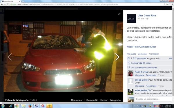 Según el perfil Uber Costa Rica, en Facebook, este vehículo pertenecía a un usuario de la compañía y fue atacado la noche del viernes en Cinco Esquinas de Tibás.