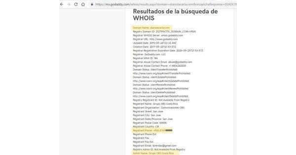 Revisión de la página diariolacarta.com en en los sitios de consulta de dominios de internet godaddy.com y Whois Lookup.