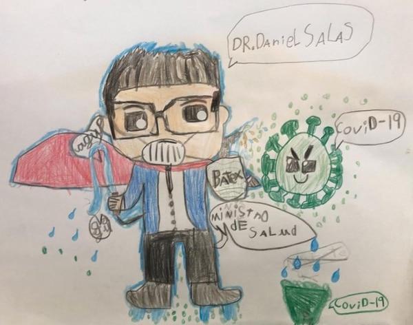 Los detalles de los niños son muy significativos para Daniel Salas, según dice. Este dibujo lo hizo el niño Gabriel Zúñiga, de ocho años; como parte de una tarea en la que debía dibujar a un superhéroe. Fotografía: Archivo GN
