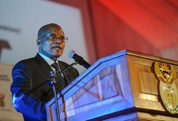 El presidente sudafricano, Jacob Zuma, pronunció un discurso el martes en Pretoria.