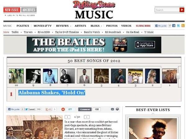Alabama Shakes se adueñó del primer puesto de la lista de las mejores 50 canciones del 2012. | ROLLING STONE