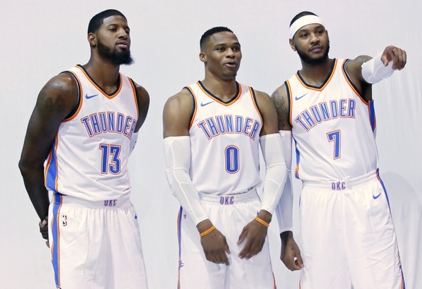 Paul George, Russell Westbrook y Carmelo Anthony son las figuras del Oklahoma City Thunder.