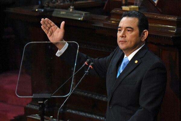 Presidente de Guatemala, Jimmy Morales, durante el informe anual en Ciudad de Guatemala, 14 de enero del 2019. AFP