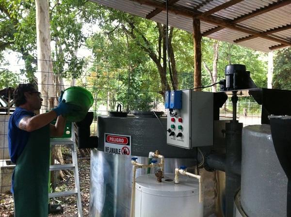 La materia prima del biodigestor (unos 10 kilos de grasa al día) proviene de las cocinas de unos 30 restaurantes de la zona. En la foto, José Pablo Delgado Fernández, de la organización NPW. | CORTESÍA DE NPW.