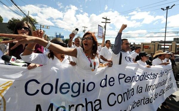 Periodistas hondureños protestaron en diciembre del 2011 en Tegucigalpa por los asesinatos de sus colegas.