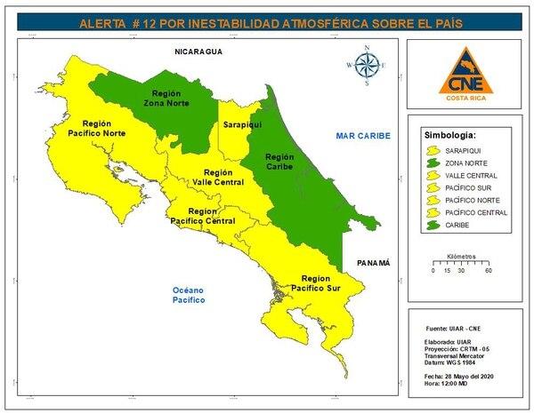 Así visualiza la CNE la situación del país por el mal tiempo. Foto: Cortesía de CNE