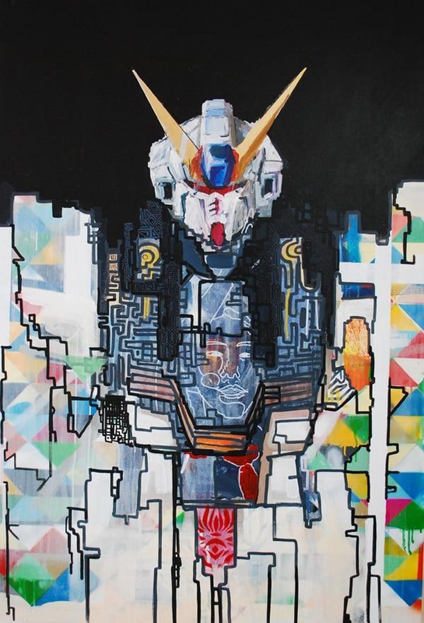 5. Gundam, famosa serie animada japonesa, se reitera en la obra de Chang.