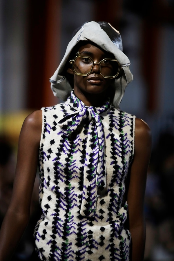 A model wears a creation as part of the Prada Spring-Summer 2020 collection, unveiled during the fashion week, in Milan, Italy, Wednesday, Sept. 18, 2019. (AP Photo/Luca Bruno)